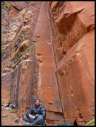 Rock Climbing Photo: David sitting at the base, trying to summon his In...