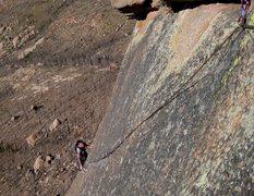 Rock Climbing Photo: Angela finishing up the P3 100' finger crack.