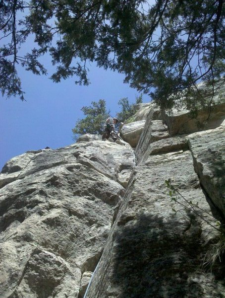 Rock Climbing Photo: Just below the ledge.