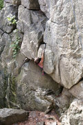 Rock Climbing Photo: Tanya Chupa pulling the roof on Wedgies (5.8)