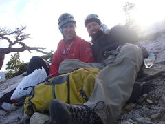 Rock Climbing Photo: Hans Florine and me on the summit after 12.5 hours...