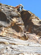 Rock Climbing Photo: Chris Taylor pulling through the roof on pitch 2