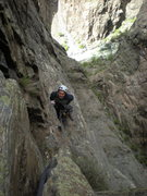 Rock Climbing Photo: Traverse at the end of the 5.10 corner pitch (lowe...