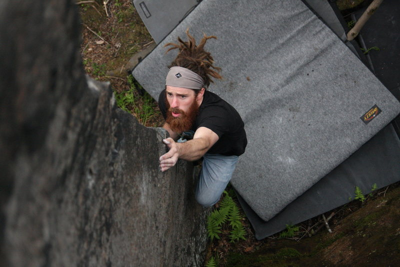 Rock Climbing Photo: Pete off the ground and pulling in to the cux sect...