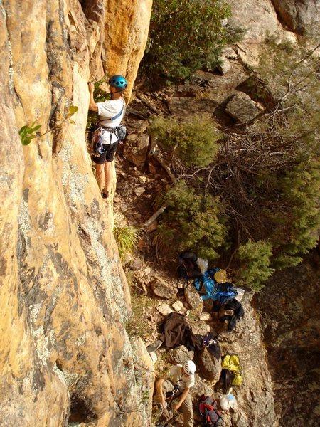 Rock Climbing Photo: Leading Pedro, an Australian 10 (5.5?)