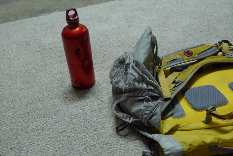 Sigg bottle and my pack after the bear had it's way with it