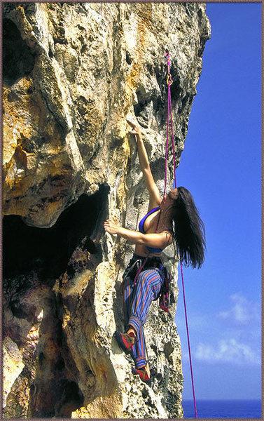 Rock Climbing Photo: Tressa Mallamo puzzling her way up 'No Problem Mon...