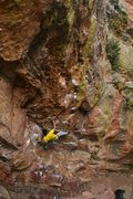 Rock Climbing Photo: Said beginning the short crux of Touch Monkey.  Ph...