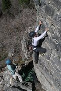 Rock Climbing Photo: dave climbing hailey on belay at Hard Rock