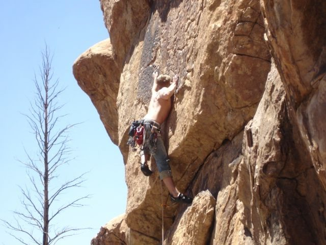Kevin in the thick of the crux.