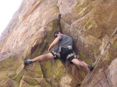 Rock Climbing Photo: Josh below the roof getting ready to place first c...
