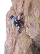 Rock Climbing Photo: Josh up and out the roof onto the steep face...it'...