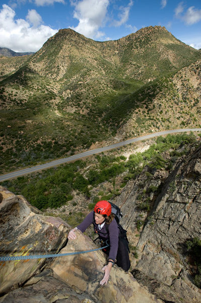 Nicole nears the top of Rational Expectations, more than 300 feet above Sespe Creek, in the Central Gully of the Fortress.