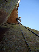 Rock Climbing Photo: Dow pulling the roof that starts the 10+ pitch.