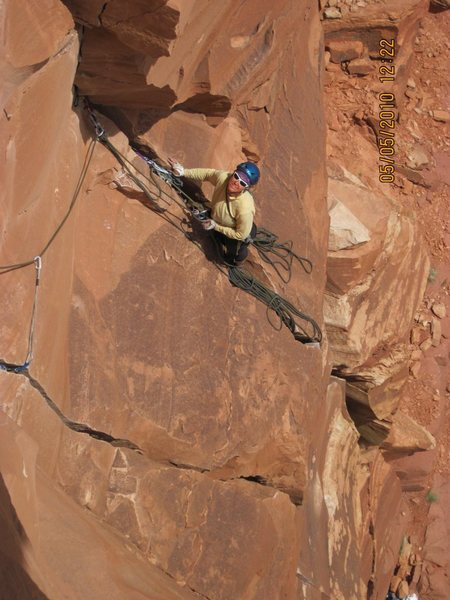 Belay at end of pitch 2
