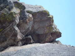 Rock Climbing Photo: P2's little roof on the left, just left of the rop...