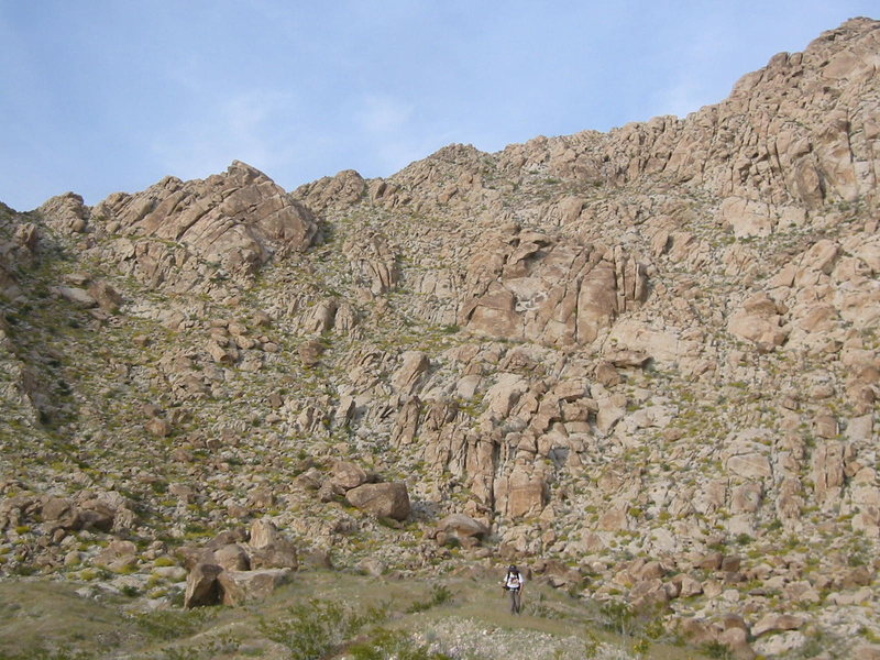 Some technical rock climbing has been done on crags in the area.
