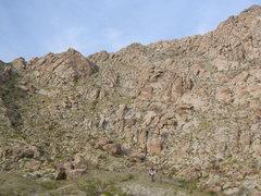 Rock Climbing Photo: Some technical rock climbing has been done on crag...