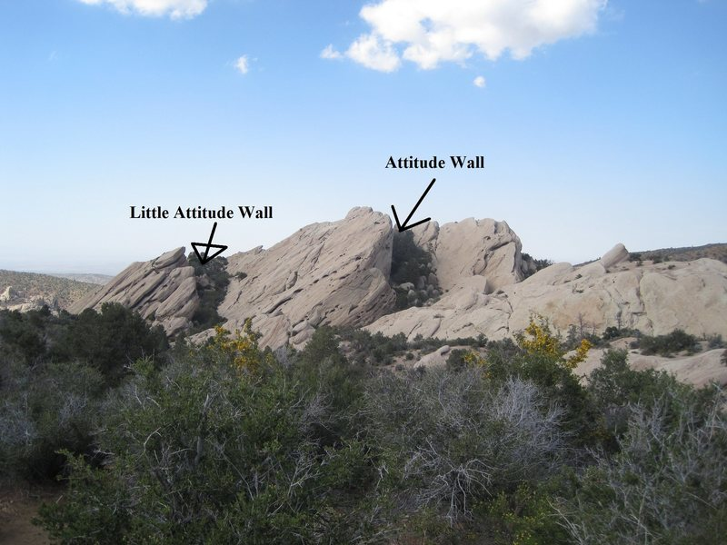 Attitude and Little Attitude Wall<br> Head straight there from the &quot;Viewpoint sign&quot; on the Pinyon Pathway