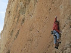 Rock Climbing Photo: Me doing the crux move of Rought Draft