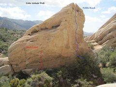 Rock Climbing Photo: Little Attitude Wall Red: Black Listed Blue: Pebbl...