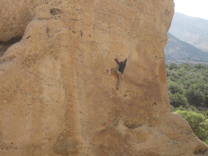 Rock Climbing Photo: Crux Move on Pebble Beach