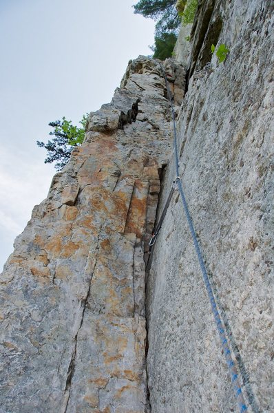 Rock Climbing Photo: On the first pitch of Le Gourmet.