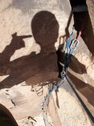 Rock Climbing Photo: Forced into the overhanging crux.
