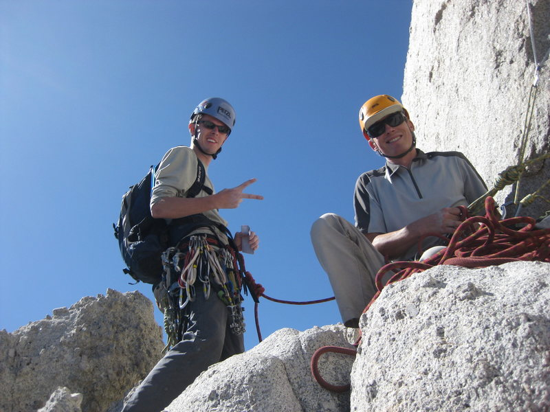 Gary Castleman and Chris Barker on the 4th pitch belay ledge gearing up for the summit!