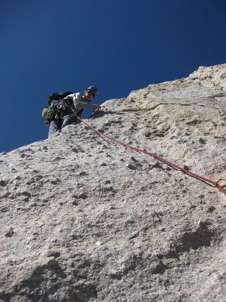 Chris Barker on the 4th pitch of Cathedral Peak.