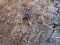 Rock Climbing Photo: Getting into the business...Kinda blurry but it wi...