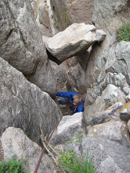 Rock Climbing Photo: my father coming up the crux chimney