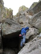 "Rock Climbing Photo: My father at the first ""5th"" class porti..."