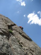 Rock Climbing Photo: Andrus the Lithuanian nearing the top of the crack...