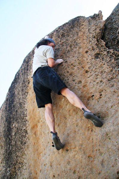 Rock Climbing Photo: Enjoying the finishing moves on Goldenrod, V6