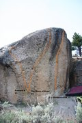 Rock Climbing Photo: Goldenrod Boulder, front face topo