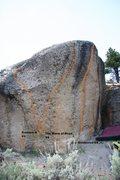 Rock Climbing Photo: Goldenrod Boulder, front face topo