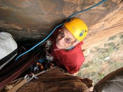 Rock Climbing Photo: Jug monkey on Monkey Finger, Zion NP