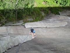 Rock Climbing Photo: Mary cranking through the crux