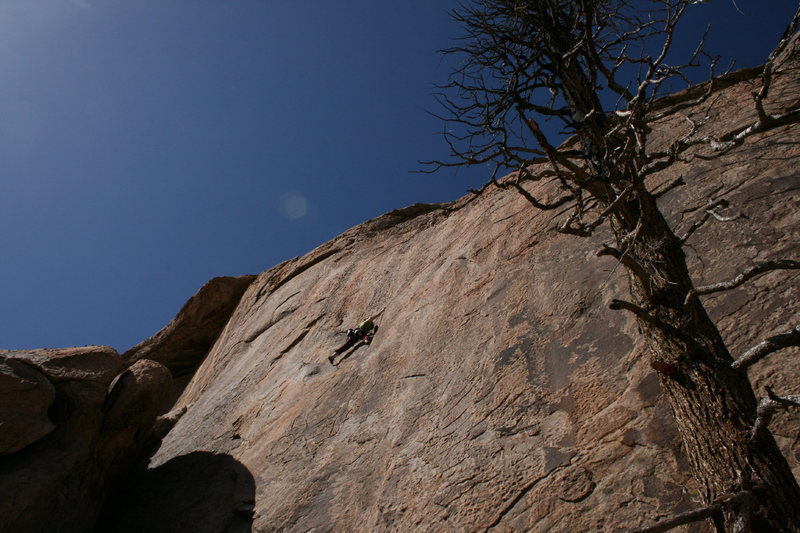Rock Climbing Photo: Steppin' off of the Giant flake to begin the Smaus...