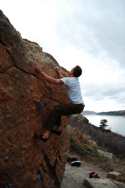 Warming up on My Two Cents, V2, Rotary Park, Horsetooth Resevoir, CO