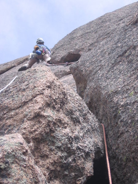 Rock Climbing Photo: Getting to the business on Pitch One. Getting into...
