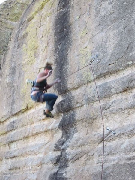 Rock Climbing Photo: Josie Becker keeping her belayer on his toes!