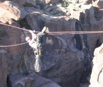Rock Climbing Photo: Closeup of tyro across Fossil Falls