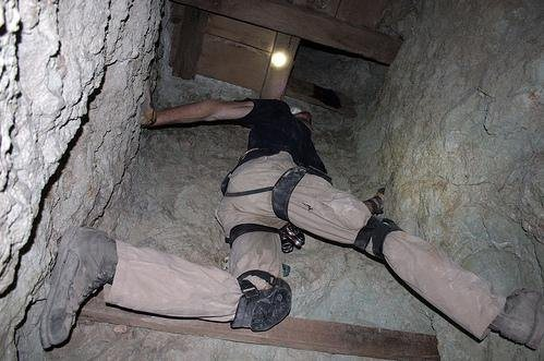Rock Climbing Photo: Climbing a vertical shaft in the Waterloo Mine, to...