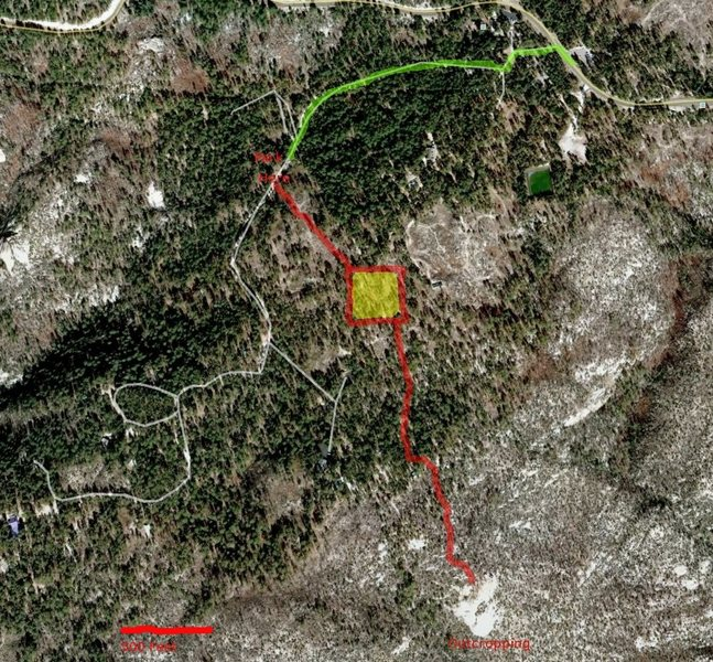 You should be able to pick up the trail and cairns in the yellow shaded area.  There were enough little cairns to make me laugh more than once so you shouldn't have any troubles once you find them.