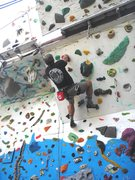 Rock Climbing Photo: climbing the overhanging part of the wall