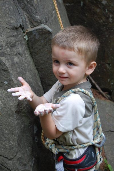 Rock Climbing Photo: Chalked up and ready to Climb