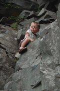 Rock Climbing Photo: Ethan on a bold scramble