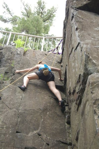 Rock Climbing Photo: My wife on Dihedral (5.3)